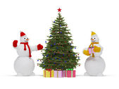 Christmas tree and snowman — Stock Photo