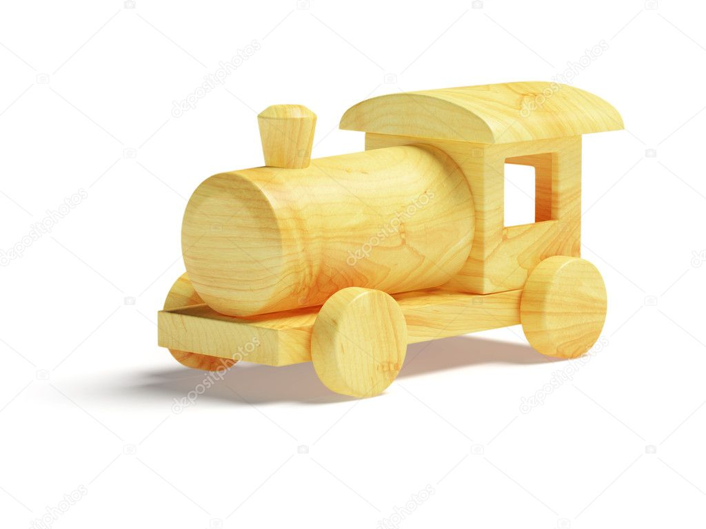 Wooden Toy Train on white background. Toy is made from clean wood. It ...