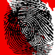 Stock Photo: Black Fingerprint and blood splatter