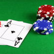 Poker - A Pair of Aces with Poker Chips — Stock Photo