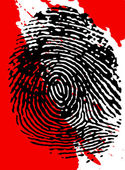 Black Fingerprint and blood splatter — Stock Photo