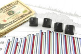 Business Charts with BUY? — Stock Photo