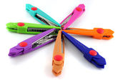 Brightly colors craft scissors on a white background — Stock Photo