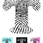 impronte digitali alfabeto lettera t — Vettoriale Stock  #4841436