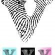 Fingerprint Alphabet Letter V - Stock Vector