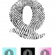 Fingerprint Alphabet Letter Q — Stock Vector