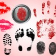 Fingerprint Footprints and Lips — Stock Vector #4842066