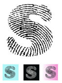 Fingerprint Alphabet Letter S — Stock Vector