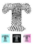 Fingerprint Alphabet Letter T — Stock Vector