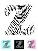 Fingerprint Alphabet Letter Z — Stock Vector