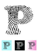Fingerprint Alphabet Letter P — Stock Vector