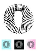 Fingerprint Alphabet Letter O — Stock Vector