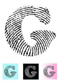 Fingerprint Alphabet Letter G — Stock Vector