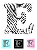 Fingerprint Alphabet Letter E — Stock Vector