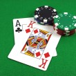 Big Slick - Ace King with poker chips — Stock Photo