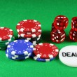 Poker Chips and 5 Dice — Stock Photo