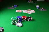 Quad Kings - Action shot on a poker table — Stock Photo