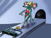 Model on a podium-mousetrap — Stock Photo