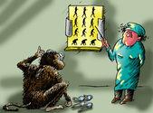 Affe am empfang bei der arzt-augenarzt — Stockfoto