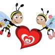 Insects with heart — Stock Vector