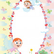 Frame with angels — Stock Vector