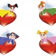 Fairies at the hearts — Stock Vector