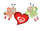 Butterflies with heart — Stock Vector
