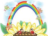 Flower and rainbow — Stock Vector