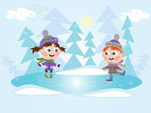 Winter: Ice skating — Stock Vector