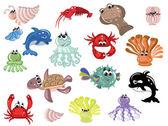 Sea animals — Stock Vector