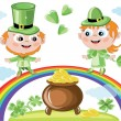 Royalty-Free Stock Photo: Leprechauns with gold pot
