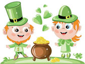 Leprechauns with gold pot — Stock Photo