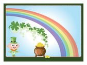 Leprechaun with gold pot — Stock Photo