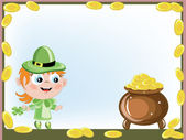 Leprechaun with gold pot — Stock Vector