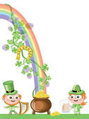 Leprechauns with gold pot — Stock Vector