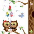 Stock Vector: Two owls