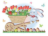 Easter ,handcart and rabbit — Stock Vector