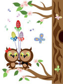 Two owls — Stock Vector