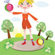 Girl with ball — Stock Vector #5226037