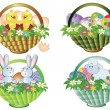 Easter baskets set — Stock Vector