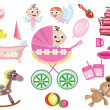 Stock Photo: Baby girl icons
