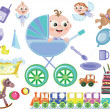 Baby boy icons — Stock Photo