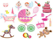 Baby girl icons — Stock Photo
