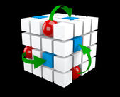 3d Cube whith arrows and spheres — Stock Photo