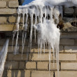 Icicles on the roof — Stock fotografie