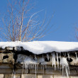 Icicles and root on the roof — Zdjęcie stockowe