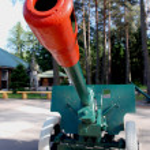 Soviet army cannon — Stock Photo