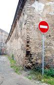 Roadsign brick in Oldtown — Stockfoto