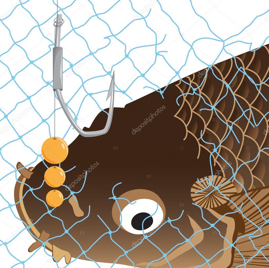 Rede carpa peixe gancho bolhas fotografia de stock 4833369 for Carpa de rio