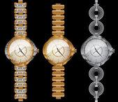 Clock dial time bracelet diamonds — Stock Vector
